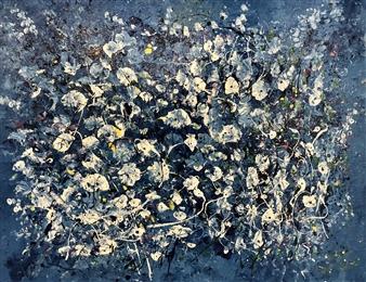 Mark Schiff - Bordeaux Lilies Acrylic on Canvas, Paintings