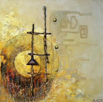 Alagir - Passage To The Sacred World Oil on Canvas Board, Paintings