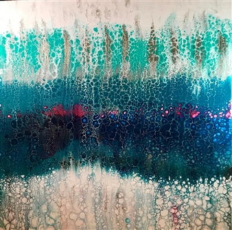 Deborah Helms - Turquoise Bubbles Acrylic on Canvas, Paintings