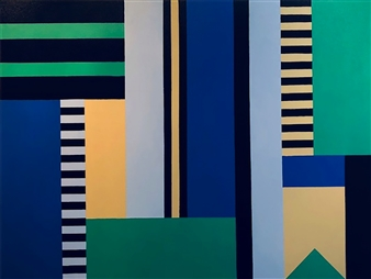 Roberta Caviglia - Playful Geometry #7 Acrylic on Canvas, Paintings