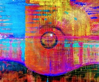PJ Riley - CREATION THEORY: Orb in Creation Haze Acrylic & Spraypaint on Canvas, Paintings