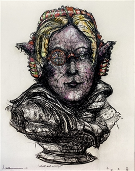 Jeine Roque - Portrait  Marker on Canvas, Drawings
