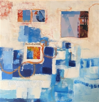 Stephanie Pitoy - Unfinished Thoughts, No. 19 Collage & Mixed Media on Canvas, Mixed Media