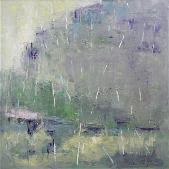 Becky Sungja Kim - Rain in Mountain Oil on Canvas, Paintings