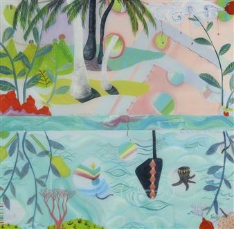 Jennifer Valenzuela - A Breathing in the Heavens Oil on Wood, Paintings