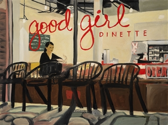 Clare Holzer - Good Girl Dinette Oil on Canvas, Paintings
