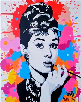 Peter Martin - Audrey Hepburn Acrylic on Canvas, Paintings