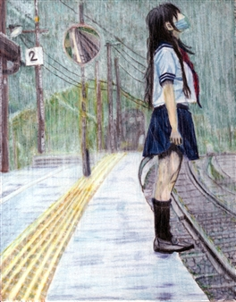 Atsushi Imai - Wet in the Rain Colored Pencil on Paper, Drawings