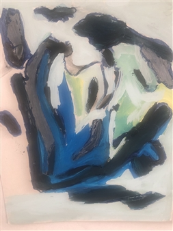 Judy Ann Filipich - Finger Painting 2 Blue On Black Oil on Photo Paper, Paintings