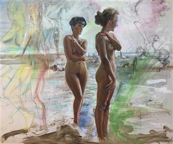 Alexandr Mischan - Virgo & Horse Tempera and Pastel on Paper, Paintings