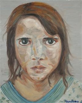 Vandana Nittoor - Refugee Child Oil on Canvas, Paintings