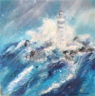 Caroline Degroiselle - The Azur Dancing Lighthouse Acrylic on Canvas, Paintings