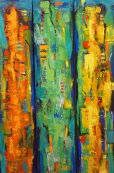 Zivi Aviraz - All in Color Mixed Media on Canvas, Paintings
