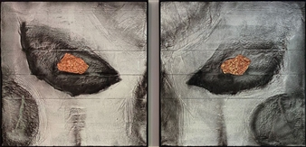 David Lionheart - Winter is Coming, diptych Mixed Media on Industrial Substrate, Mixed Media
