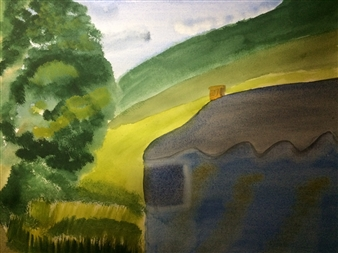 Aaron Cristofaro - Hillside Cottage Watercolor on Paper, Paintings
