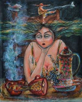 Martha Jimenez - Night Breakfast Mixed Media on Canvas, Mixed Media