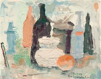 Jutta Ebeling-Dehnhard - White Pitcher Acrylic on Carton Board, Paintings