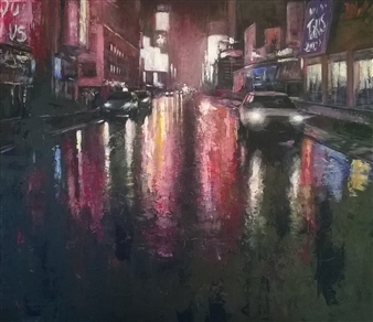 Emanuele Biagioni - Riflessi in Una Sera di Pioggia Acrylic on Canvas, Paintings