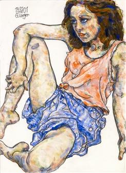 Gunter Langer - Die Weite Welt Acrylic & Gouache on Paper, Paintings