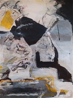 Emmanuelle Auzias - Black Abstract Acrylic & Mixed Media on Canvas, Mixed Media