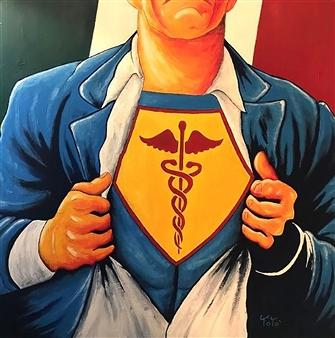 Salvatore Petrucino (Totó) - Doctor Clark Acrylic on Canvas, Paintings