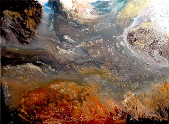 Maria Medrano - Cognizant Clouds Oil, Acrylic, Gesso, Resin on Canvas, Mixed Media