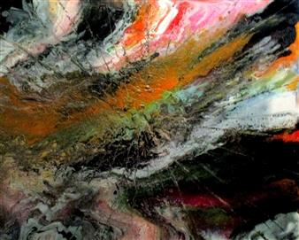 Maria Medrano - Jupiter Storm Oil, Acrylic, Gesso, Resin on Canvas, Mixed Media
