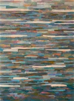 Ellen Globokar - Ocean Blue Collage on Canvas, Mixed Media