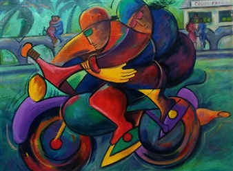 Miguel de la Cruz - Amor con Adrenalina Oil on Canvas, Paintings