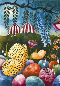 Josefina Wendel Carlsson - Cirkus Tonight Watercolor on Paper, Paintings
