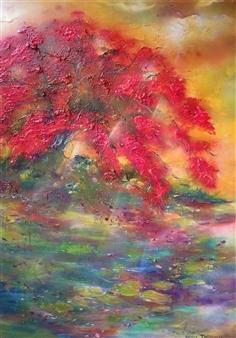 Caroline Degroiselle - Flamboyant Mirror Acrylic on Canvas, Paintings