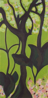 Claudia C Forero - Paradise Tree IV. Flora and Fauna. Acrylic on Canvas, Paintings