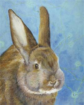 Jonathan Mann - A Prosthetic Painting: Bunny Acrylic & Collage on Canvas, Mixed Media