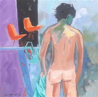 J. Roger Charoux - La Piscine Acrylic & Oil on Canvas, Paintings