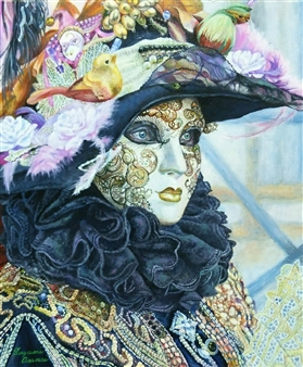 Sayumi Osanai - Venetian Mask 6 Oil on Canvas, Paintings