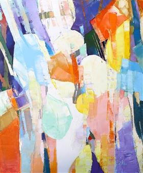 Monika Gloviczki - Dancing in the Rain Oil on Canvas, Paintings