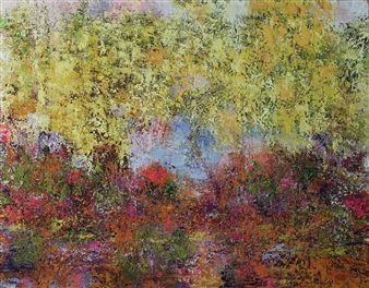 Gitte Peters - Oasis of Happiness Oil on Canvas, Paintings
