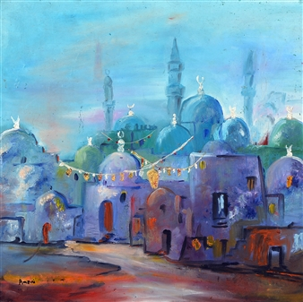Amani Elbayoumi - Old Town Cairo Oil on Canvas, Paintings