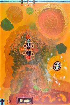 David Syre - Beyond the Sun... 4 Eyed Teddy Bear Acrylic on Canvas, Paintings