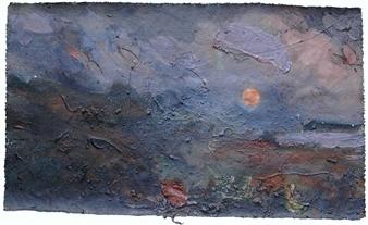 Frances Hatch - Mackerel Moon Acrylic, Collage & Mixed Media on Canvas, Mixed Media