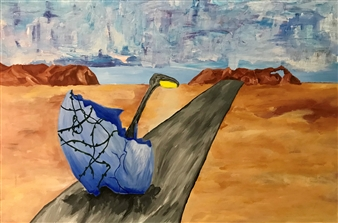 Ethan Lam - Boundary Lit Acrylic on Canvas, Paintings