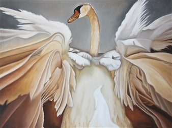 Pamela Sullivan - Swan Taking Flight Oil on Canvas, Paintings