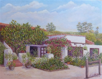 Miguel A. Chavez - El Fandango Restaurant Oil on Canvas Panel, Paintings