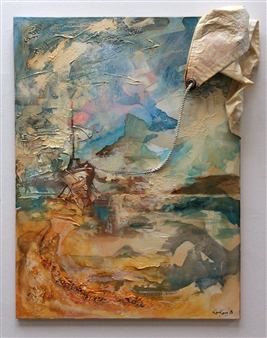 The KonKons - Time Well Wasted Mixed Media & Sail Cloth on Canvas, Mixed Media