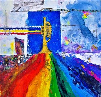 Elena Gastón Nicolás - El Cielo Tiene Trompetas. Heaven has Trumpets. La Plata Alquímica.  Alchemical Silver Acrylic & Ink on Canvas, Paintings