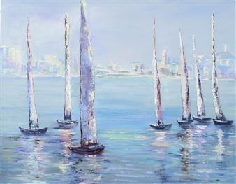 Arttiana - Sun, City, and Yachts Oil on Canvas, Paintings