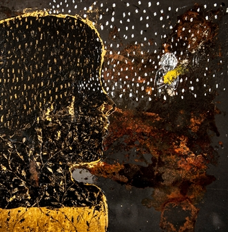 Sigrid Thaler - Roots 3 Gold Leaf, Chalk and Mixed Media on treated Black Iron, Mixed Media
