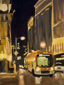 Clare Holzer - Night Bus Oil on Canvas, Paintings