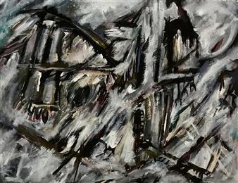 Terry Firkins - It was Raining Oil & Acrylic on Canvas, Paintings