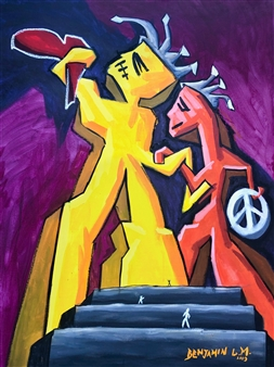 Benjamin L.M. - Big Time Peace And Love Acrylic & Oil Stick on Canvas, Paintings